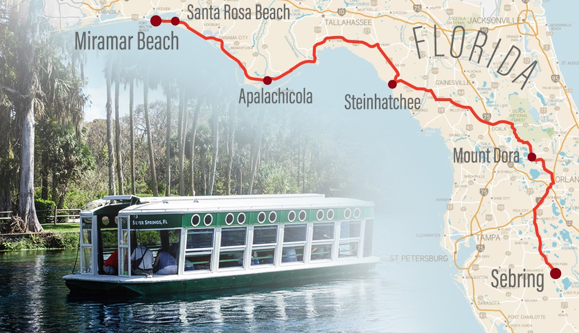 partial map of florida with a road trip route and city stops highlighted collaged with a photo of a glass bottomed tour boat on a florida lake