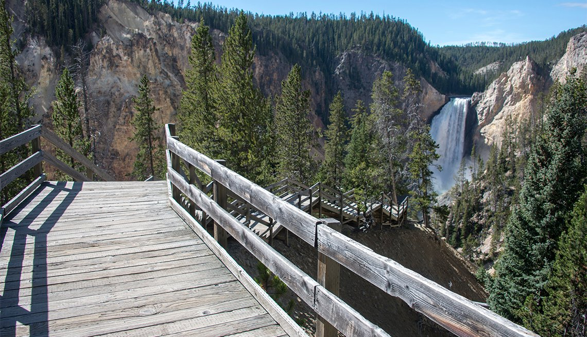 Wooden steps and boardwalk down to Lower Yellowstone Falls