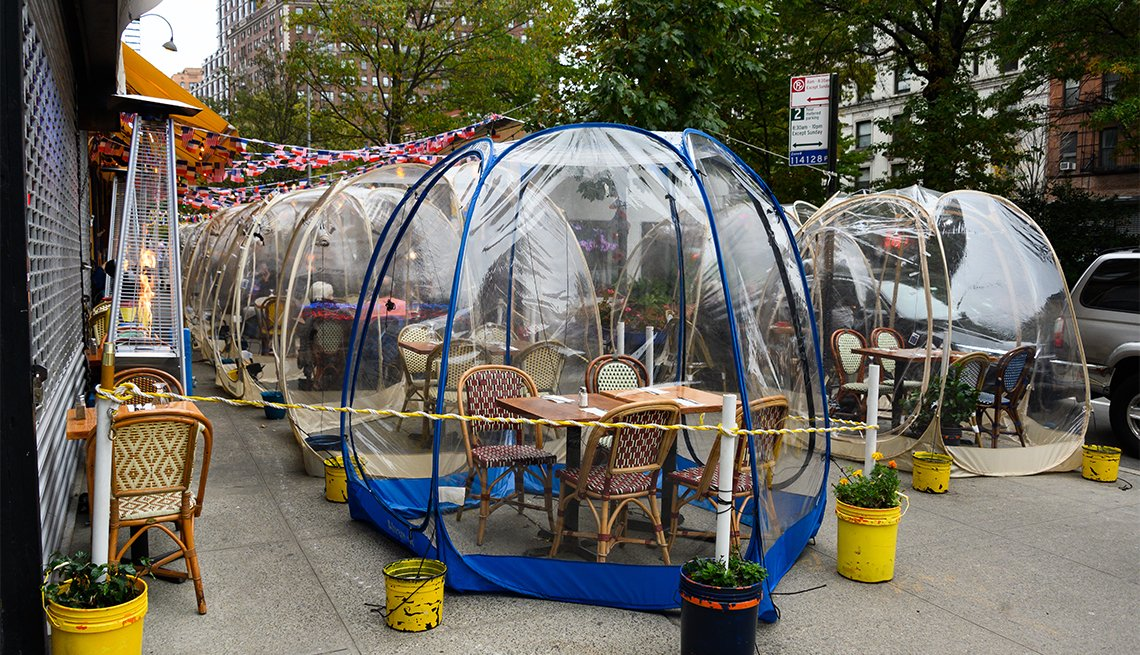 Social distancing bubble tents are set up outside Cafe Du Soleil restaurant on the Upper West Side