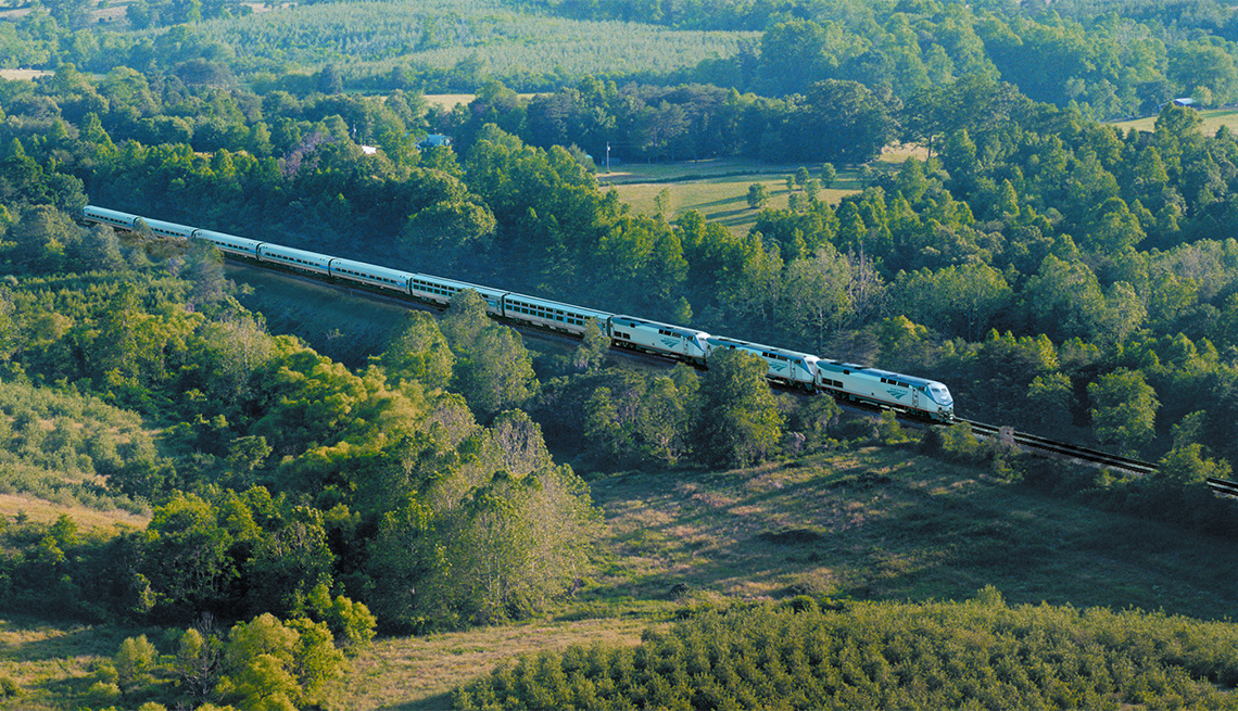 item 2 of Gallery image - Aerial view of the Amtrak Crescent Train
