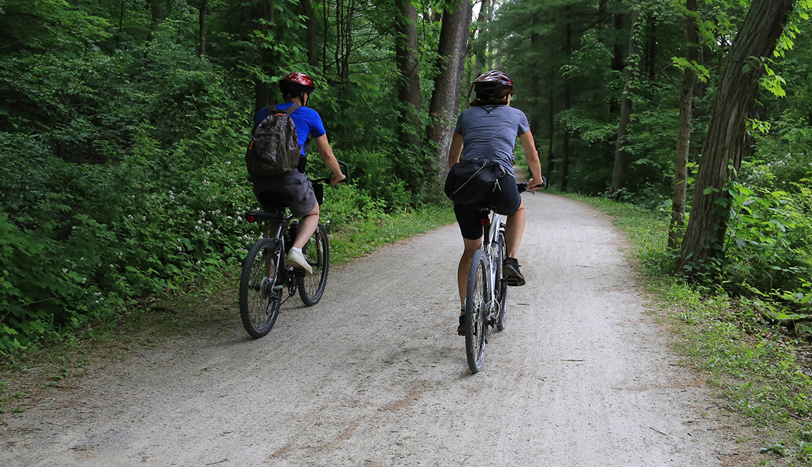 two bikers along a trail in Cuyahoga Valley National Park