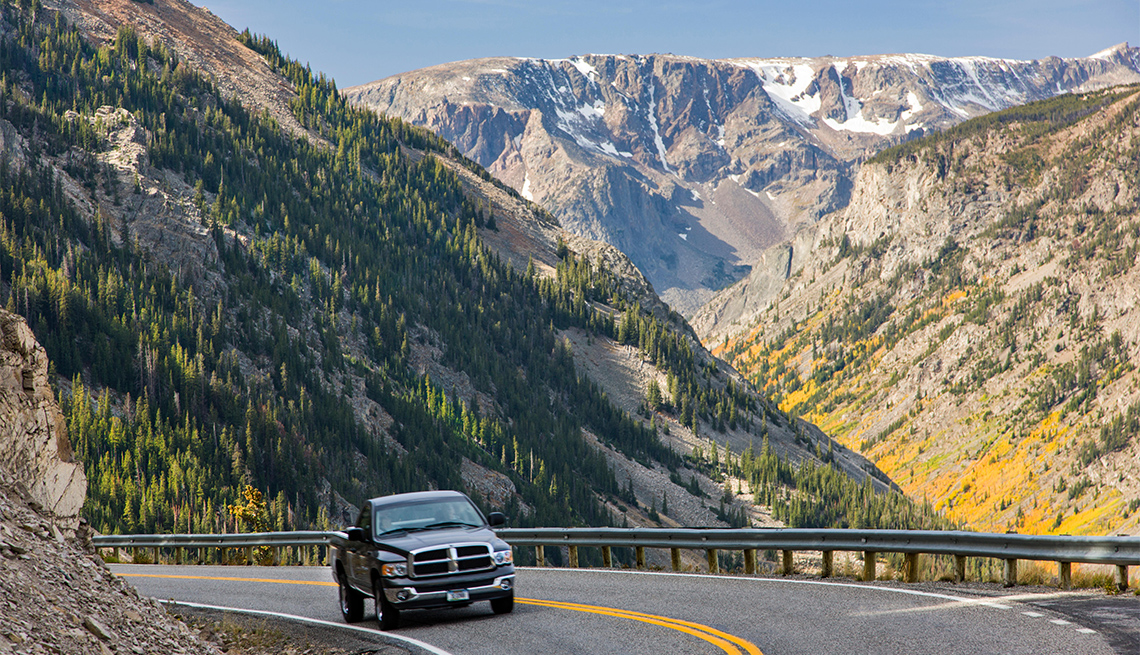Pick-up truck on the Beartooth Scenic Byway (Rt. 212)