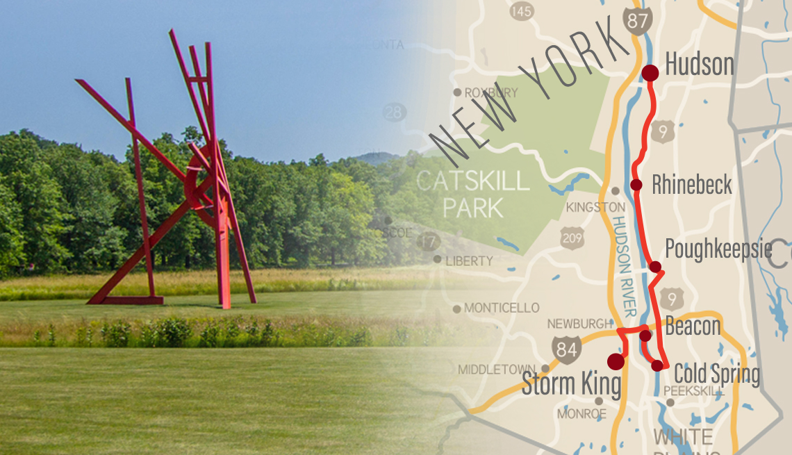 large scale steel sculpture by mark di severo at storm king art center in new york and road map of the area