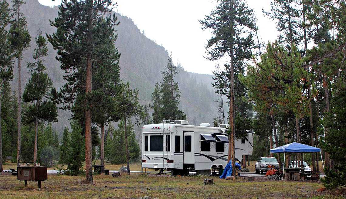 an r v camped at madison campground in yellowstone