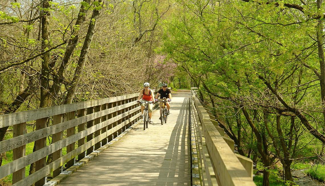 item 6 of Gallery image - Dos personas transitan por el sendero Virginia Creeper Trail