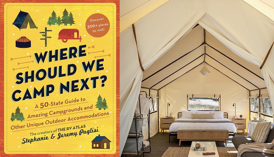 Portada del libro Where Should We Camp Next, dentro de una tienda de lona