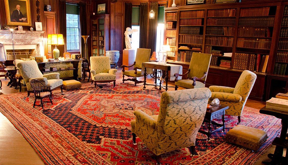 Sala en lo que fuera la casa de Franklin D. Roosevelt