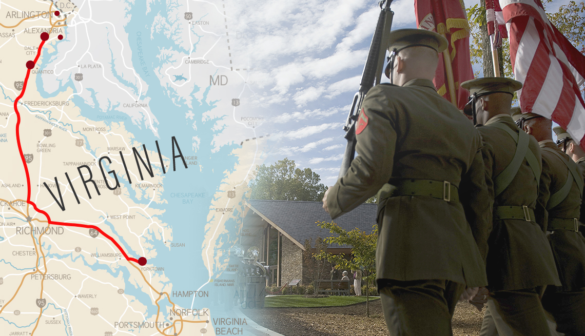 collage of a road map of virginia with sites marked on it and a scene of u s marines at the marine corps museum