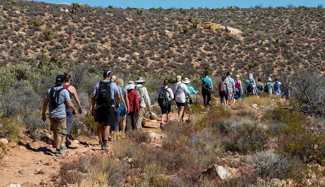 Personas caminan por el sendero del cañón Pine Creek