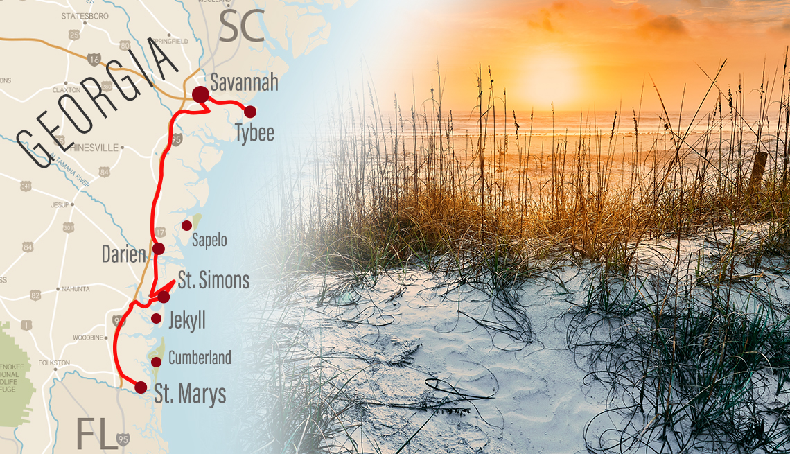 road map of the georgia coastline with a road trip route plotted on it next to an image of the beach