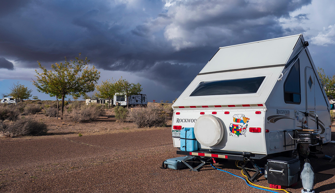 Storm clouds over the campground, Homolovi Ruins State Park, Winslow, Arizona.