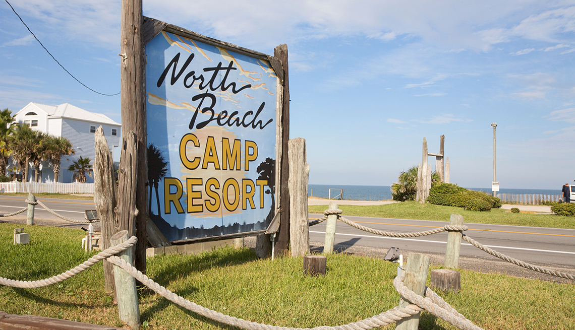 Sign at entrance to North Beach Camp Ground on Atlantic Ocean near St. Augustine, Florida