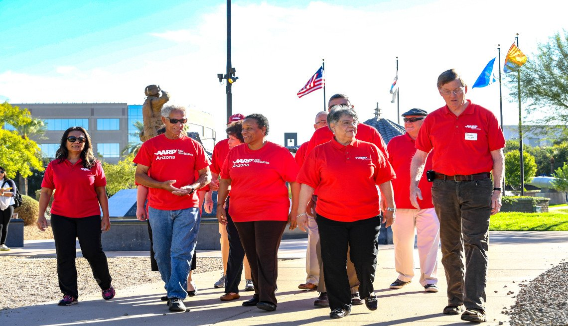 Large group of A A R P volunteers visit the State Capitol in Phoenix Arizona.