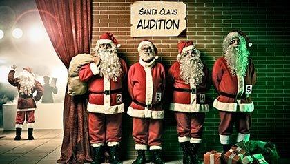 Santa Claus en la fila para una audición de teatro - Las mejores maneras de ser contratado durante las fiestas