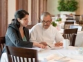 Restaurant owner and chef discuss plans, Small business marketing plan