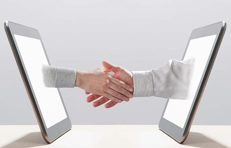 job hunt digital ipad computer linkedin social media calling card footprint tweet twitter hiring industries resume online tablet handshake