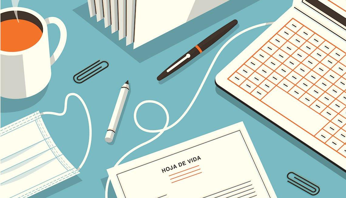 Ilustración de un escritorio con taza de café, computadora, mascarilla, hoja de vida y lapiceros