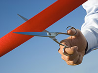 inauguration ceo startup new opening ribbon scissors hand red ribbon
