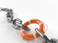 Orange lifebuoy connects chain links, indispensable employee at work.