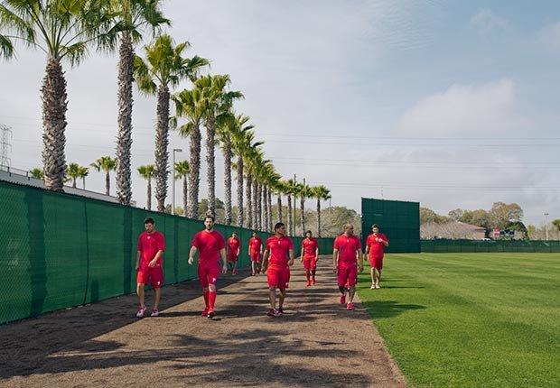 Los Phillies de Philadelphia durante una sesión de entretanimiento en Clearwater, Florida.