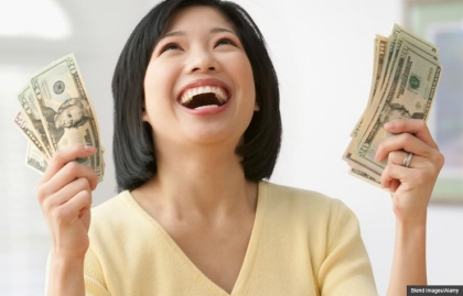 Smiling woman money, Sweepstakes changes your life