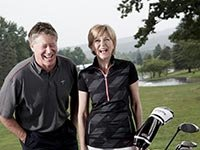 Pro golfer Michael Allen speaks with Jane Pauley at the En-Joie golf course in Endicott, New York