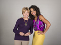 Dawn Nakamura-Kessler started modeling at age 50 and poses here with Jane Pauley