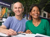 Robert Groves tutors Bekha Maya Maharjan in reading English, Encore Careers (Bill Cramer/Wonderful Machine)