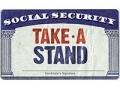 Tarjeta de Seguro Social con el mensaje 'Take A Stand'