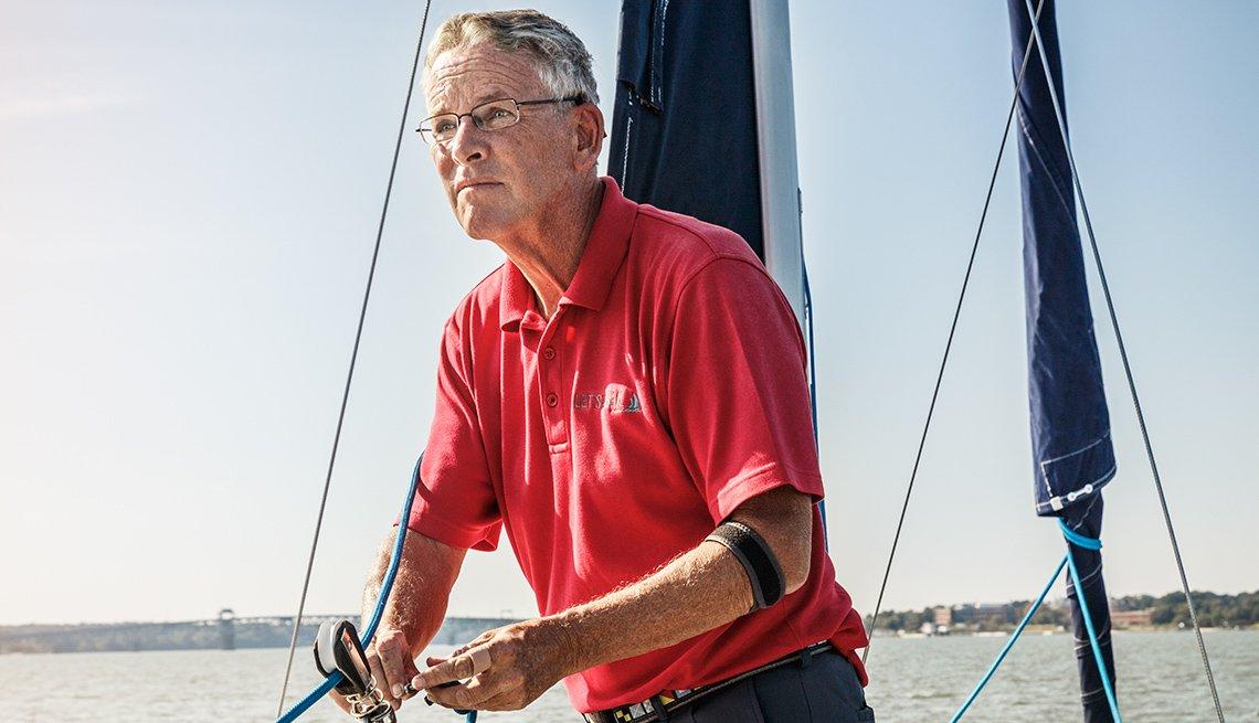 Sailboat Captain Bill O'Donovan sailing on the York River