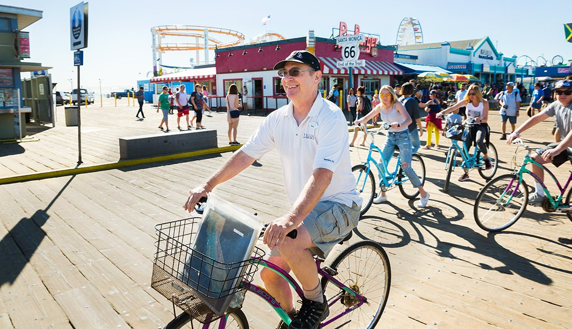 Marty Shatz, 67, leads a bike tour from the Santa Monica Pier to the Venice canals