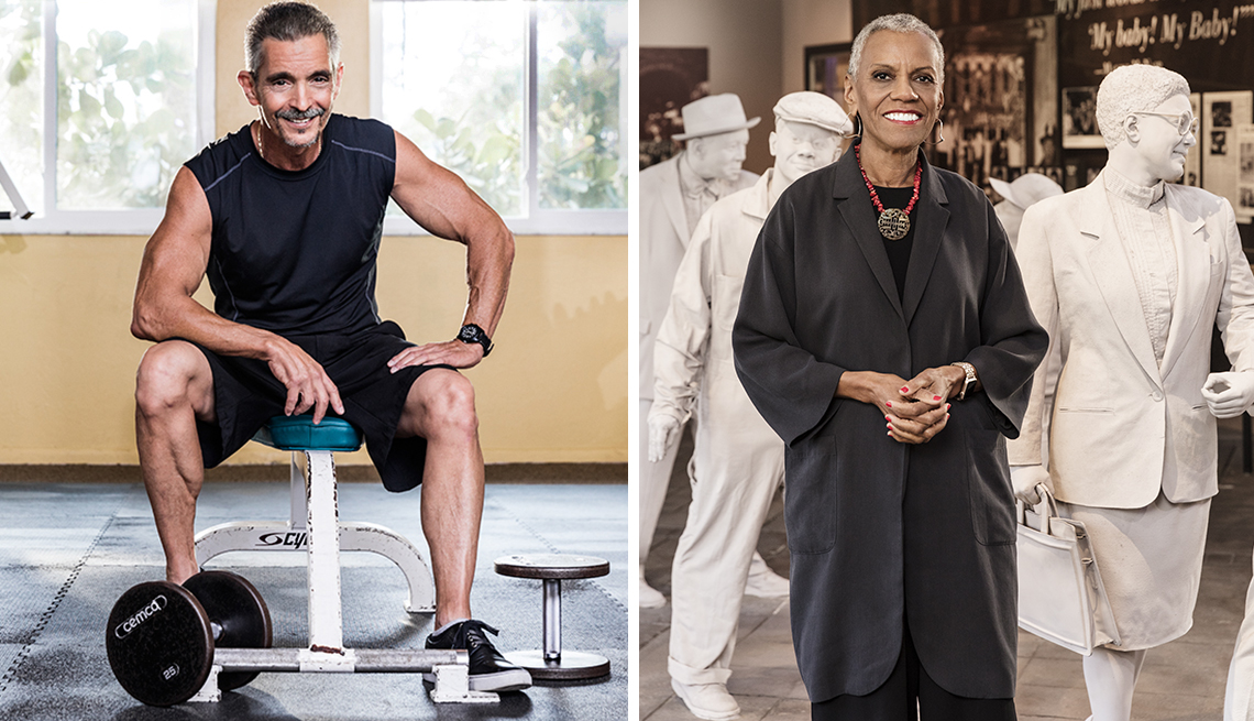 a personal trainer and a woman who works in a museum