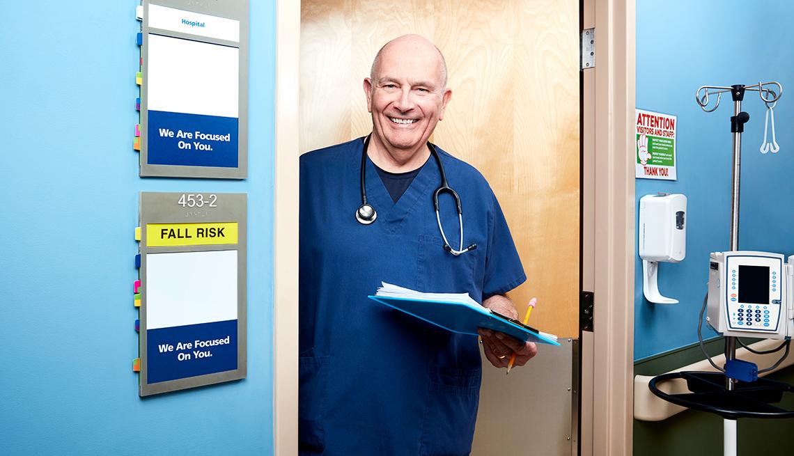 Gary Laabs, nurse at door