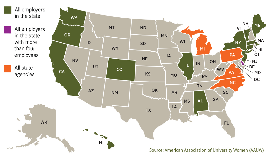 united states map with states that ban employers from asking about your salary history highlighted