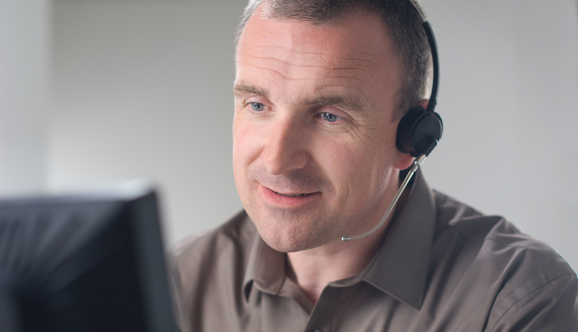 Customer service person working from home