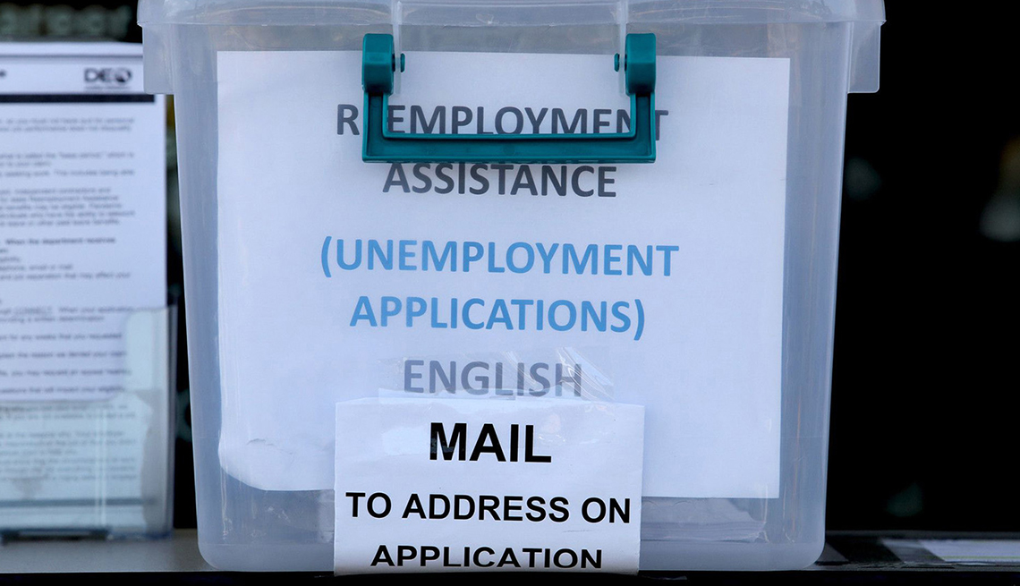A bin filled with unemployment applications