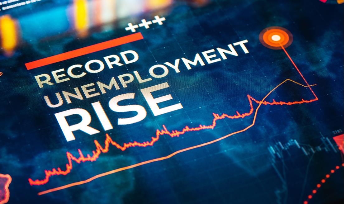 Record Unemployment Rise statistics illustrated by charts and diagrams on digital LCD display