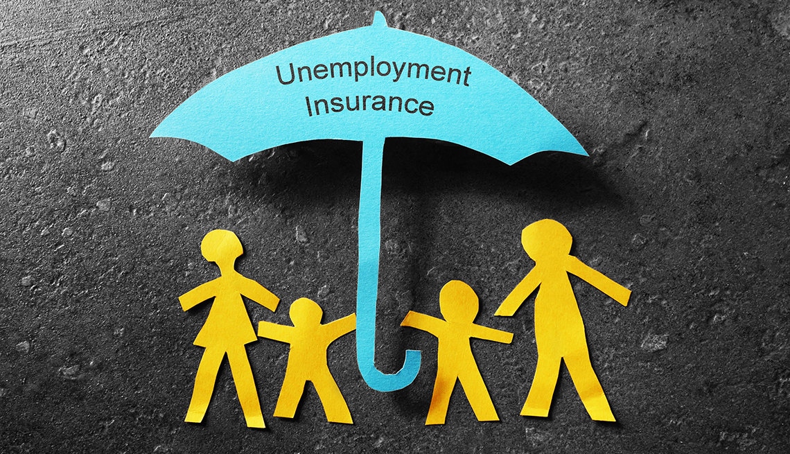 A cutout of a family standing under a light blue umbrella that says unemployment insurance