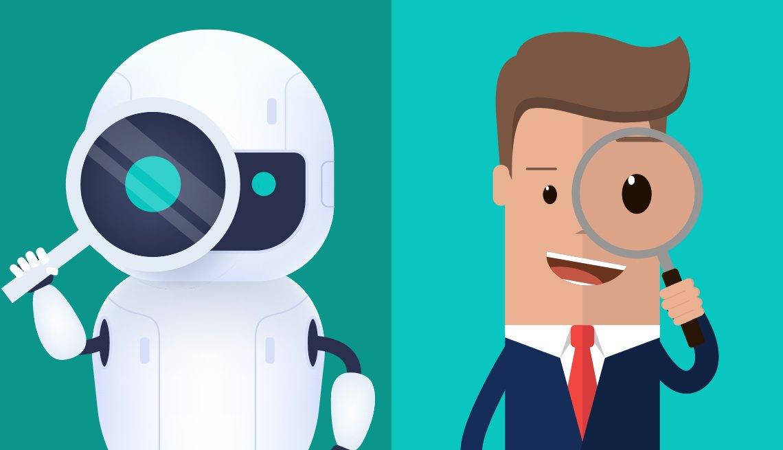 Ilustración de un robot con una lupa al lado de un ejecutivo con una lupa