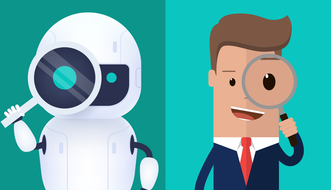a job recruiter screening robot and a live person and both holding up magnifying glasses