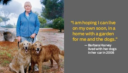 Barbara Harvey with her dogs - recession survivors