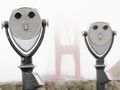Coin-operated binoculars and Golden Gate Bridge