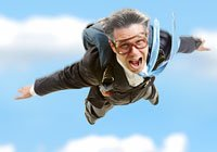Skydiving businessman for 50 jobs for people over 50