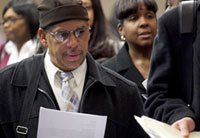Applicants at a New York job fair - December 2011 unemployment figures