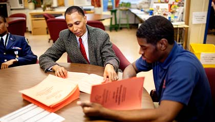 Rod Carter, left, has been mentoring students like Delante Desouza for more than 20 years, through the Maryland ReServe program.
