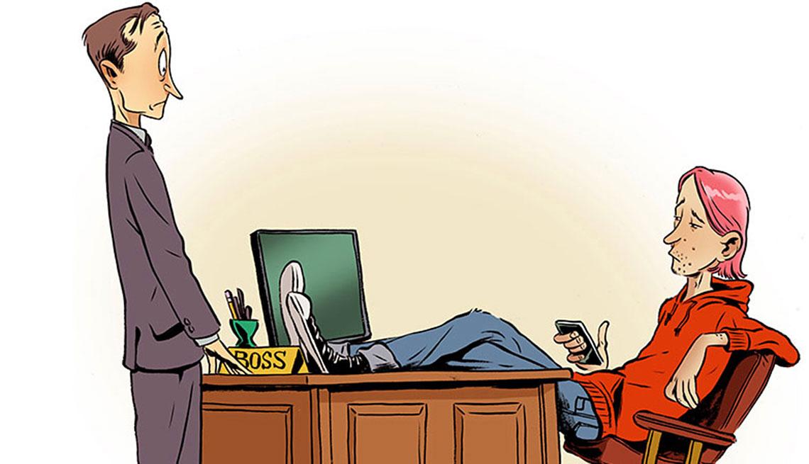 Ilustración de un hombre mayor frente al escritorio de su jefe más joven