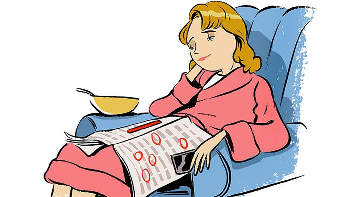 Ilustración de una mujer sentada en un sillón