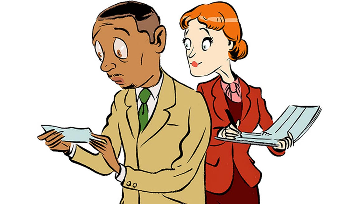 Illustración de dos personas nerviosas leyendo una nota