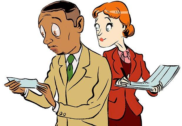 Ilustración hombre con un cheque en la mano y mujer mirando por encima de su hombro - Errores al buscar trabajo