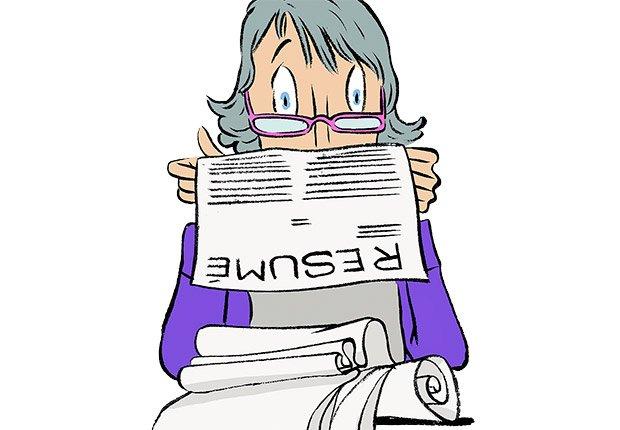 Ilustración hoja de vida muy larga  - Errores al buscar trabajo